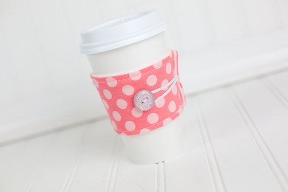 Coffee Sleeve Coffee Cozy Pink Polka Dot for Women Girls Reusable Cozy Cuff