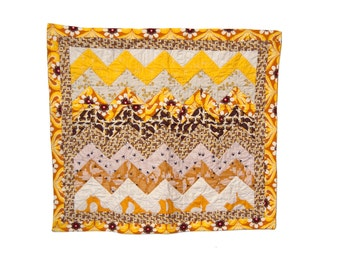 Yellow Chevron quilt (with owls!)