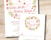 Floral Wreath Garden Party Wedding Invitation/Response Card - 100 Professionally Printed Invitations & Response Cards