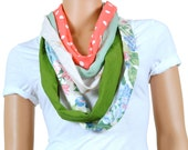 Scarf - Infinity Scarf - Womens Chunky Floral Print and Polka Dot Scarf