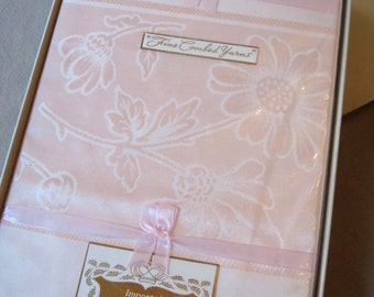 Pink lady. Lovely pink damask tablecloth and napkin set, MIP, NOS, hostess gift. Excellent unused condition.