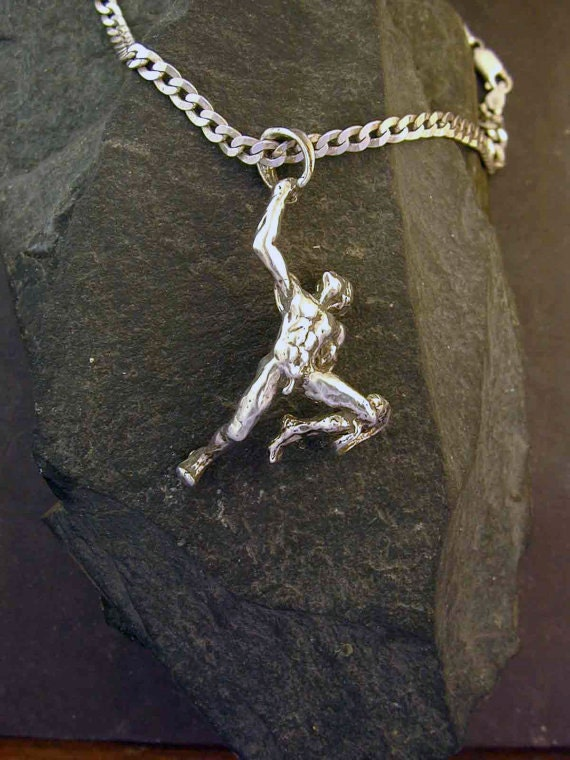 Sterling Silver Large Male Acrobat Gymnast Pendant on a Sterling Silver Chain