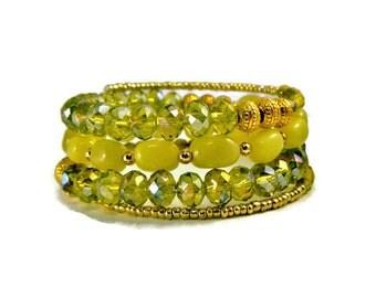 Green Stack Bracelet, Summer Jewelry, Summer Bracelet, Green Beaded Bracelet, Stackable