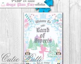 Sugar Plum Fairy Party, Nutcracker Party, Christmas Party, Ballerina Party - PRINTABLE WELCOME SIGN - Cutie Putti Paperie