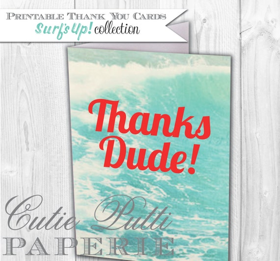 Retro Surf's Up Party, Surfer Party, Pool Party Printable Thank You Cards By Cutie Putti Paperie