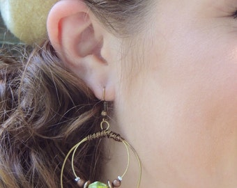 GUITAR STRING EARRINGS - bronze, olive green, brown - teens and adults - eco-friendly/upcycled jewelry - under 25.00