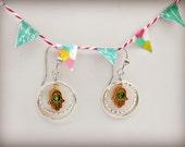 Dangle Earrings - Handmade Silver and Gold Hamsa Hand Earrings with Green Bead - The Wanderlust Collection
