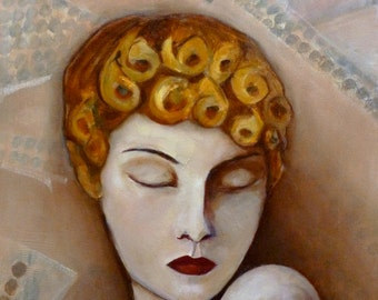 Art Deco Fashion Woman Original Oil Painting by Jenny Hambleton Girls Curls