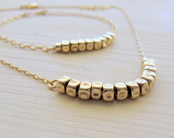 Gold jewelry set. Gold minimalist jewelry. Gold nugget necklace. Gold nugget bracelet. Simple everyday necklace.