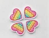 Bright Rainbow Chevron Heart-Summer Chevron Heart Felt Applique-Rainbow Chevron Heart Embroidered Felt-UNCUT (Set of 4)