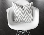 "Gray and White Chevron Decorative Pillow Cover - Geometric- 18x18"""