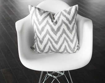 Gray and White Chevron Decorative Pillow Cover - Geometric- 18x18""