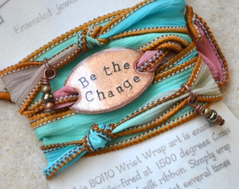 Boho Silk Wrap Bracelet- BE THE CHANGE- wrap bracelet, be the change bracelet, boho jewelry, sailor studio