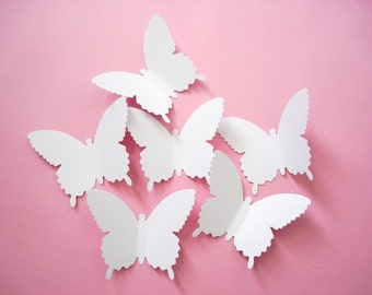 25 Extra Large White Country Butterfly die cut punch scrapbook embellishments - No931