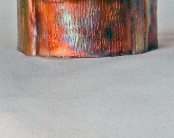 Copper Cuff Bracelet Fold Formed Textured Hand Hammered Flame Rainbow Patina