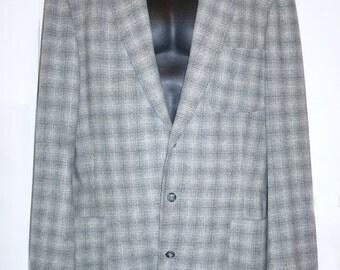1957 Atomic Era Grey Wool Plaid Sport Coat - tall