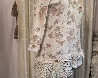Shabby Cottage Top, refashioned tattered laces altered romantic victorian doily embellished, womens clothing by Tattered Delicates, XL Large