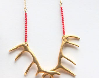gold deer antler necklace- gold 22k plated and coral beads necklace-FREE SHIPPING-  red coral jewelry- red gold woodland- antler boho wild