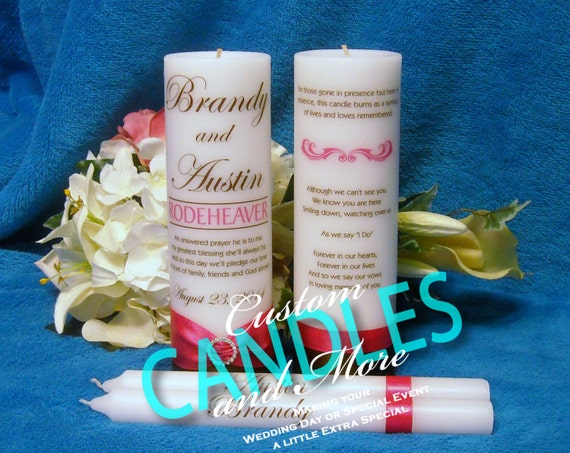 Unity Candle With Tapers and Memorial Candle Personalized