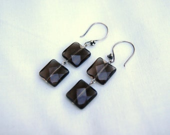 """Faceted Square Smoky Quartz Sterling Silver Dangle Earrings--""""Puffs of Smoke"""""""