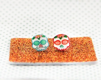 Sugar Skull earrings, Day of the dead flower jewelry