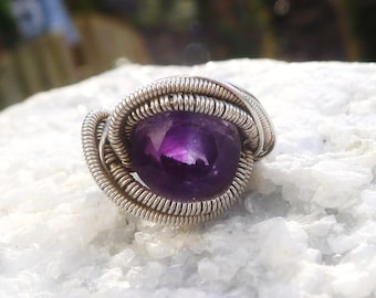 Amazing Faceted Bicolor Amethyst in wire wrapped silver ring -size 5.5