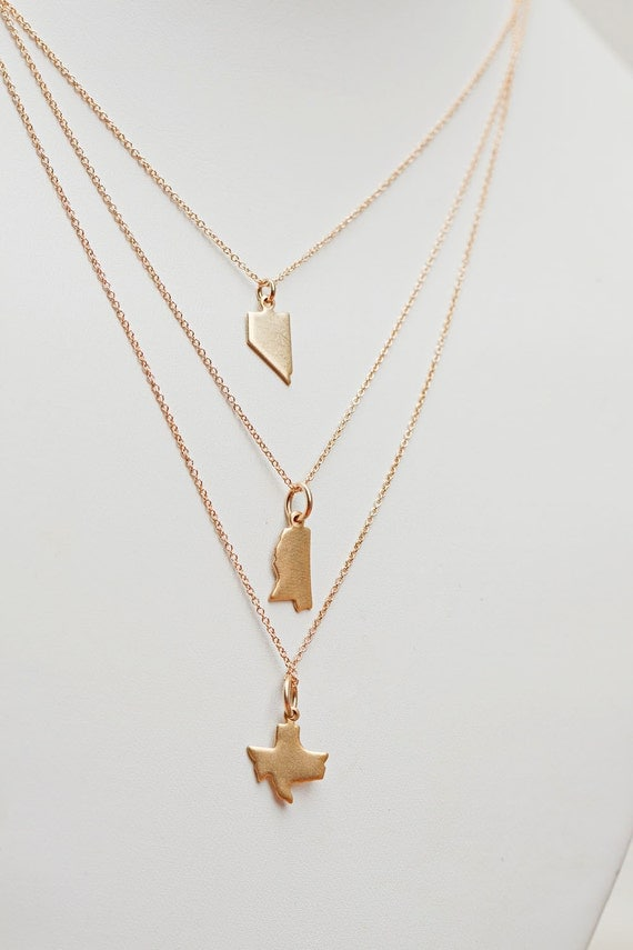 state charm necklace state jewelry small gold brass state