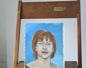 Small Vintage Mixed- Media Portrait Painting: Colorful Red-Headed Woman