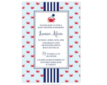 Nautical/Seaside/Beach Collection - Bridal Party/Shower Invitations  - Crab Theme Baby Shower with Rattle