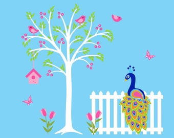 Peacock Tree Decal Childrens Wall Decal Nursery Decor Art