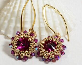 Fuchsia Earrings Beadwork Earrings 14 K Gold Filled Jewelry Bead Weaving Earrings Hot Pink Earrings