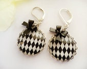 Harlequin and Bow Dangle Earrings - Black and White - Carnival - Bold Burlesque - Chic Diamond Pattern - Round Image silver plated