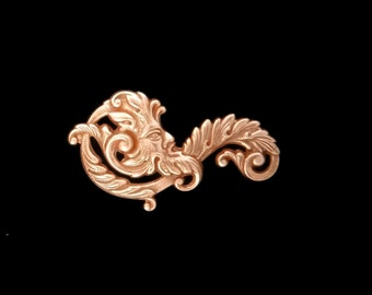 Green Man Fancy Leaf Scroll Filigree Copper Rose Gold Plated Brass Stamping Father Time 55mm x 30 mm- Qty 1 Left Made in the USA