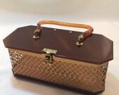 RESERVED for Della. Vintage 50's Gold Filigree Dorset Rex Lucite Purse