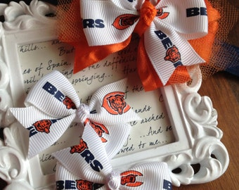 Chicago Bears Bow Set - Layered Bow & Set of Two Ponytail Clips, Chicago Bears Headband, Chicago Bears Bow, Bears Fan Stocking Stuffer