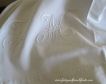Antique French Metis Linen Sheet With Centre Seam & JM or TM Monogram Heavy Over 2kgs