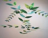 Spinach-Celadon-Jade Hand Dyed Dappled Leaf Mobile