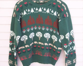70s / 80s Novelty Knit Green Sweater // Retro Sweater