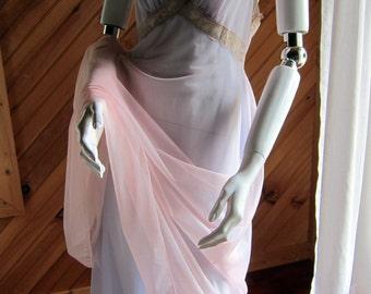Vintage Lingerie   1950s Negligee   Vintage Floor Lenth Nightgown   Vanity Fair Lavender 1950s Sexy Nightie   Vintage See Through Lingerie