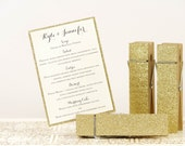 Gold Glittered Clothespins Table Number Holders - Set of 5