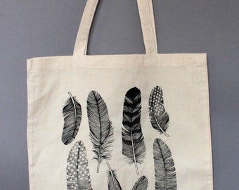 Screenprinted Feather Natural Cotton Tote Bag