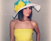 White Floppy Hat with Yellow Roses and Teal Blue Bow for Kentucky Derby Race Church Wedding Beach or Garden Party