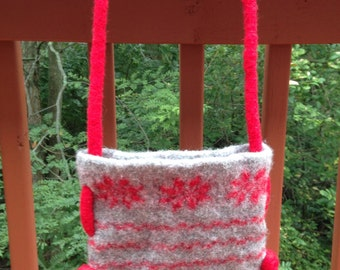 OOAK Red and Grey Handmade Purse, Knitted Felted Bag, Over the shoulder bag, Poinsettia cross-body bag, Cool winter or Christmas Gift.