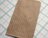 20 Embossed Kraft Paper Bags Dots and Scrolls 3 1/4 x 5 1/4 inches