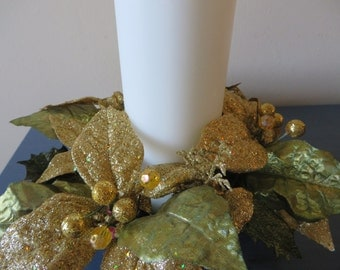 "Christmas Candle Ring  - gold and green glittered candle ring with  3 1/2"" opening"