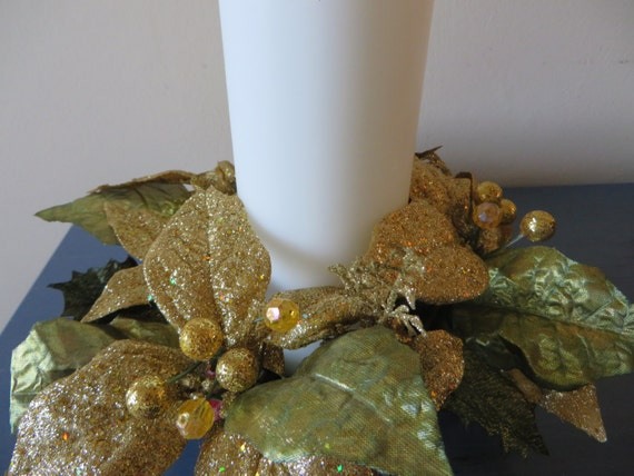 Christmas candle ring gold and green glittered candle ring with 3 1