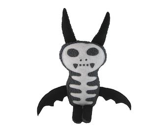 Stuffed Plush Bat, Worry Monster Doll, Monster Toy, Skeleton Bat, Fabric Monster Toy, Skeleton Monster Doll, Bones The Happy Monster