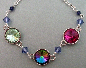 Colorful crystal rhinestone necklace - bright silver chain, Austrian crystal green fuchsia stones, violet beads, multi color crystal jewelry