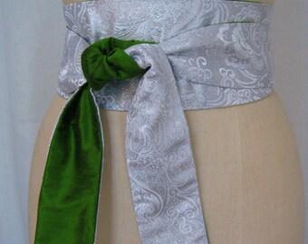 Silver Paisley Brocade and Emerald Green Shantung Reversible Obi Sash