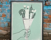 NYC - Bouquet Art Print /  Silkscreen Print 18 x 24